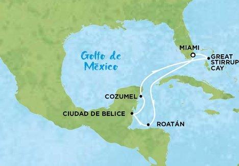 Mapa de Crucero por el Caribe
