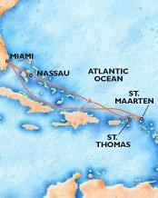 Mapa recorrido del crucero por el Caribe