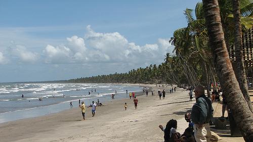 Playa Manzanilla, palmeras y olas en Trinidad